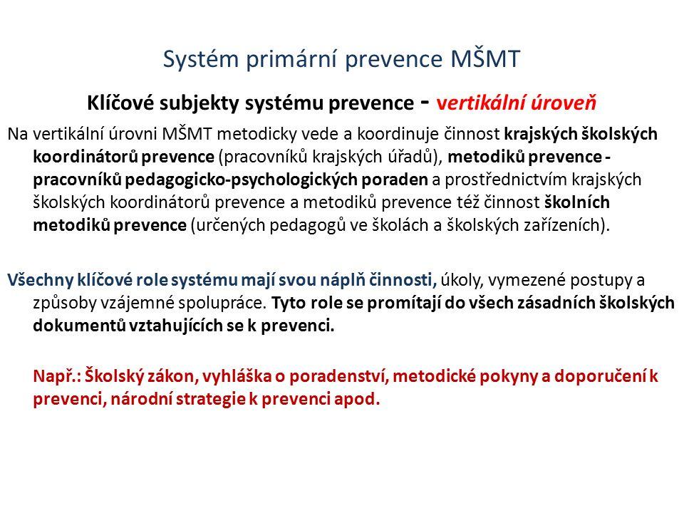 Systém primární prevence MŠMT Klíčové subjekty systému prevence - vertikální úroveň Na vertikální úrovni MŠMT metodicky vede a koordinuje činnost krajských školských koordinátorů prevence (pracovníků krajských úřadů), metodiků prevence - pracovníků pedagogicko-psychologických poraden a prostřednictvím krajských školských koordinátorů prevence a metodiků prevence též činnost školních metodiků prevence (určených pedagogů ve školách a školských zařízeních).