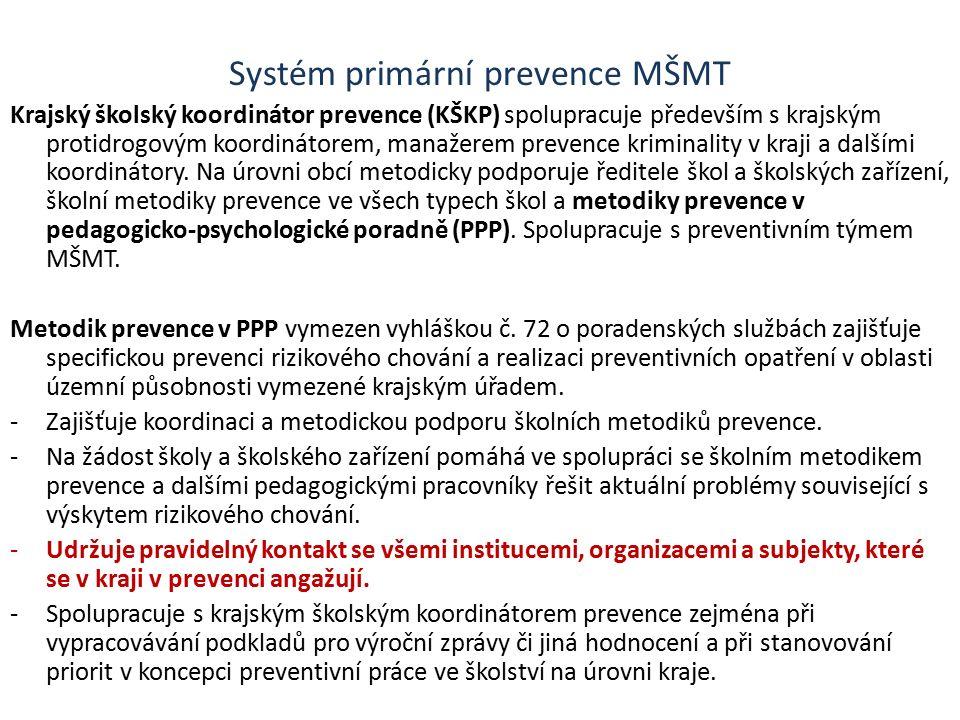 Systém primární prevence MŠMT Krajský školský koordinátor prevence (KŠKP) spolupracuje především s krajským protidrogovým koordinátorem, manažerem prevence kriminality v kraji a dalšími koordinátory.
