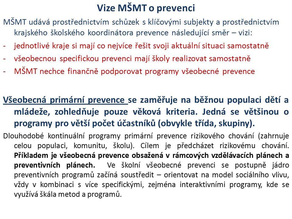 Vize MŠMT o prevenci MŠMT udává prostřednictvím schůzek s klíčovými subjekty a prostřednictvím krajského školského koordinátora prevence následující směr – vizi: -jednotlivé kraje si mají co nejvíce řešit svoji aktuální situaci samostatně -všeobecnou specifickou prevenci mají školy realizovat samostatně -MŠMT nechce finančně podporovat programy všeobecné prevence Všeobecná primární prevence se zaměřuje na běžnou populaci dětí a mládeže, zohledňuje pouze věková kriteria.