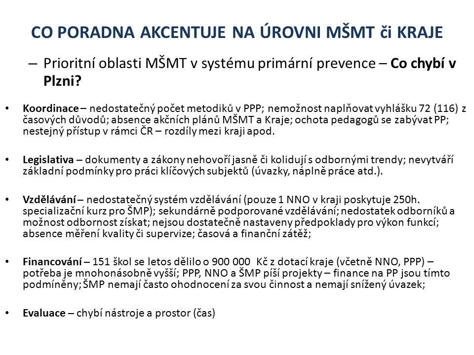 CO PORADNA AKCENTUJE NA ÚROVNI MŠMT či KRAJE – Prioritní oblasti MŠMT v systému primární prevence – Co chybí v Plzni.
