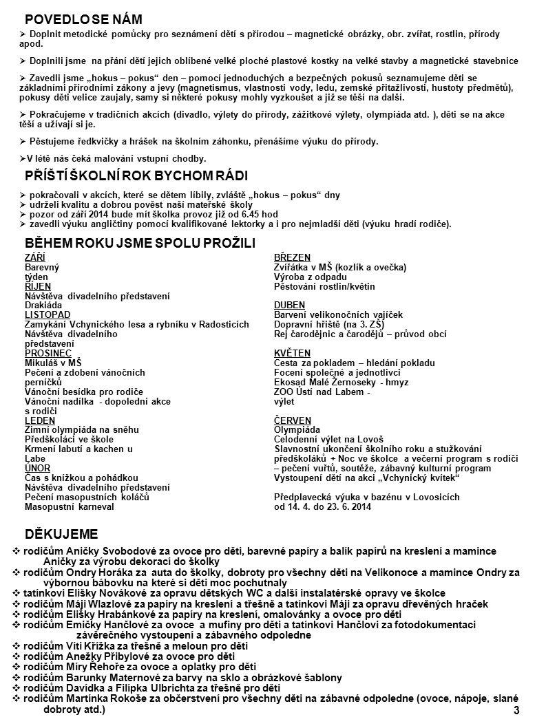 4 ANGLIČTINA Slovíčka: hamšunka penguintučňák milkmléko zebrazebra sugarcukr giraffežirafa biscuitsušenka lionlev cheesesýr tygertygr breadchléb monkeyopice sausagepárek camelvelbloud meatmaso kangarooklokan yoghurtjogurt snakehad breakfastsnídaně waspvosa lunchoběd butterflymotýl dinnervečeřesnakehad beetlebrouk beevčela teačajspiderpavouk birdpták frogžába headhlavaturtleželva eyeokocrocodilekrokodýl earuchorabitkrálík mouthústarybafish fingerprstbuttermáslo nosenosmandarin orangemandarinka handrukagrapehroznové víno footchodidlopearhruška armspaže lemoncitrón legsnohy applejablko whitebílábananabanán pinkrůžovástrawberryjahody orangeoranžovátomatorajče bluemodráblueberryborůvky greyšedápeahrášek blackčernácucumberokurka yellowžlutáorangepomeranč redčervenácarrot mrkev purplefialovávegetablezelenina greenzelenáfruitovoce brownhnědápotatobrambory cherrytřešeň Procvičování: Slovní zásobu, kterou děti mají, používají ve větách a mluví mezi sebou navzájem – otázka a odpověď – krátké rozhovory, hra na obchod, stále opakujeme již známé fráze Hallo (Dobrý den), I would like (rád/a bych, přál/a bych si) Here you are (tady máte), Thank you, (děkuji) Good bye (nashledanou) Angličtinu procvičujeme i během týdne na přání a podnět dětí při běžných hrách a činnostech ve školce.