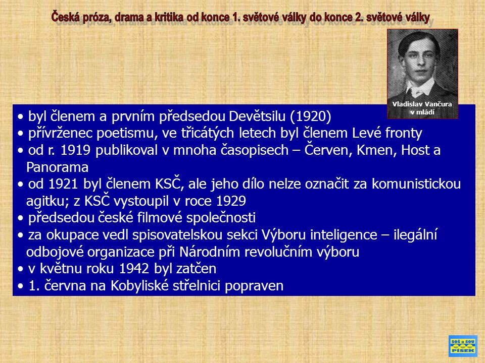byl členem a prvním předsedou Devětsilu (1920) přívrženec poetismu, ve třicátých letech byl členem Levé fronty od r. 1919 publikoval v mnoha časopisec