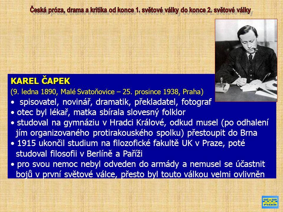 KAREL ČAPEK (9. ledna 1890, Malé Svatoňovice – 25. prosince 1938, Praha) spisovatel, novinář, dramatik, překladatel, fotograf otec byl lékař, matka sb