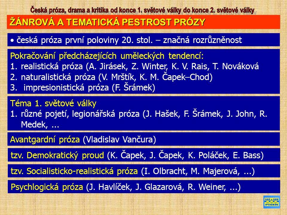 ŽÁNROVÁ A TEMATICKÁ PESTROST PRÓZY česká próza první poloviny 20. stol. – značná rozrůzněnost Pokračování předcházejících uměleckých tendencí: 1.reali