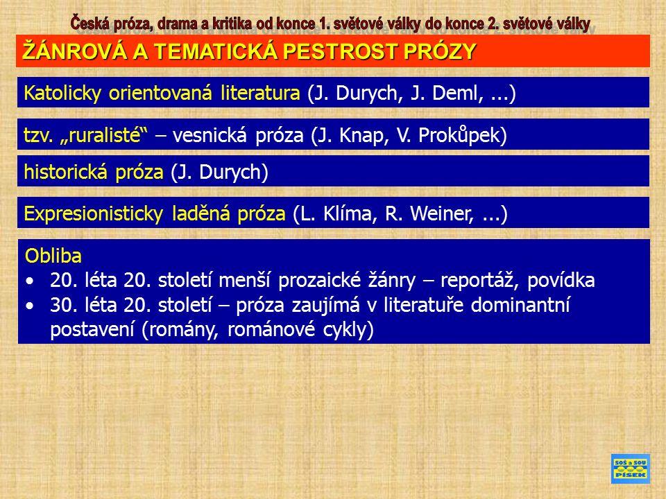 """ŽÁNROVÁ A TEMATICKÁ PESTROST PRÓZY Katolicky orientovaná literatura (J. Durych, J. Deml,...) tzv. """"ruralisté"""" – vesnická próza (J. Knap, V. Prokůpek)"""