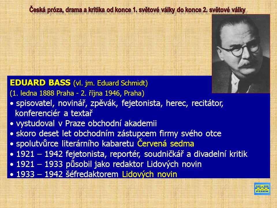 EDUARD BASS (vl. jm. Eduard Schmidt) (1. ledna 1888 Praha - 2. října 1946, Praha) spisovatel, novinář, zpěvák, fejetonista, herec, recitátor, konferen