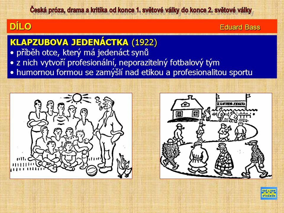 DÍLO Eduard Bass KLAPZUBOVA JEDENÁCTKA (1922) příběh otce, který má jedenáct synů z nich vytvoří profesionální, neporazitelný fotbalový tým humornou formou se zamýšlí nad etikou a profesionalitou sportu