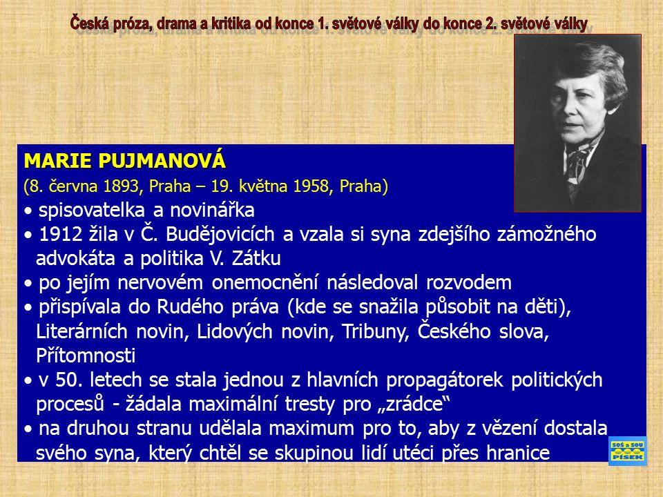 MARIE PUJMANOVÁ (8. června 1893, Praha – 19. května 1958, Praha) spisovatelka a novinářka 1912 žila v Č. Budějovicích a vzala si syna zdejšího zámožné