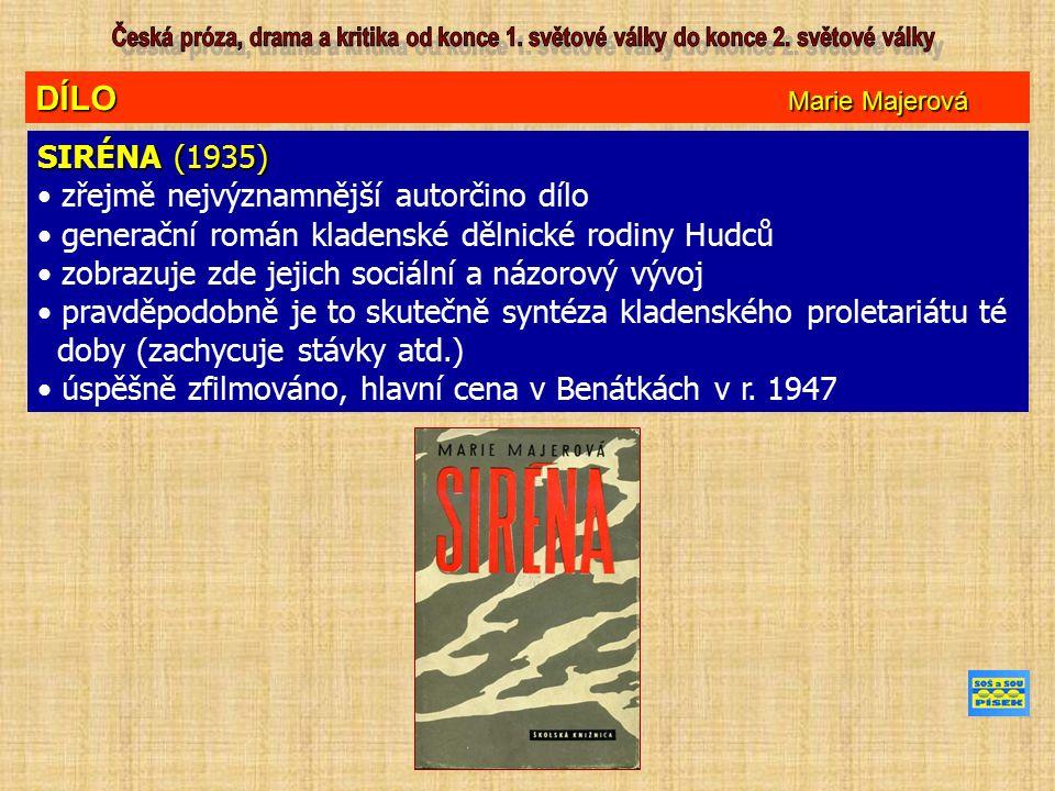 DÍLO Marie Majerová SIRÉNA (1935) zřejmě nejvýznamnější autorčino dílo generační román kladenské dělnické rodiny Hudců zobrazuje zde jejich sociální a