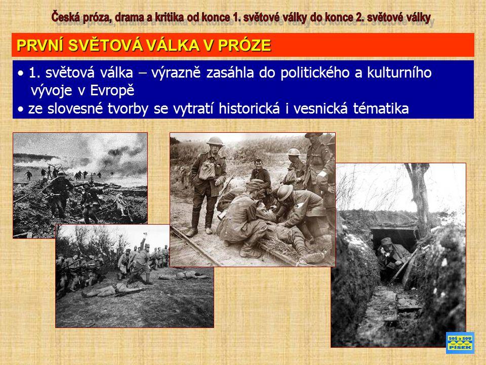 PRVNÍ SVĚTOVÁ VÁLKA V PRÓZE 1. světová válka – výrazně zasáhla do politického a kulturního vývoje v Evropě ze slovesné tvorby se vytratí historická i