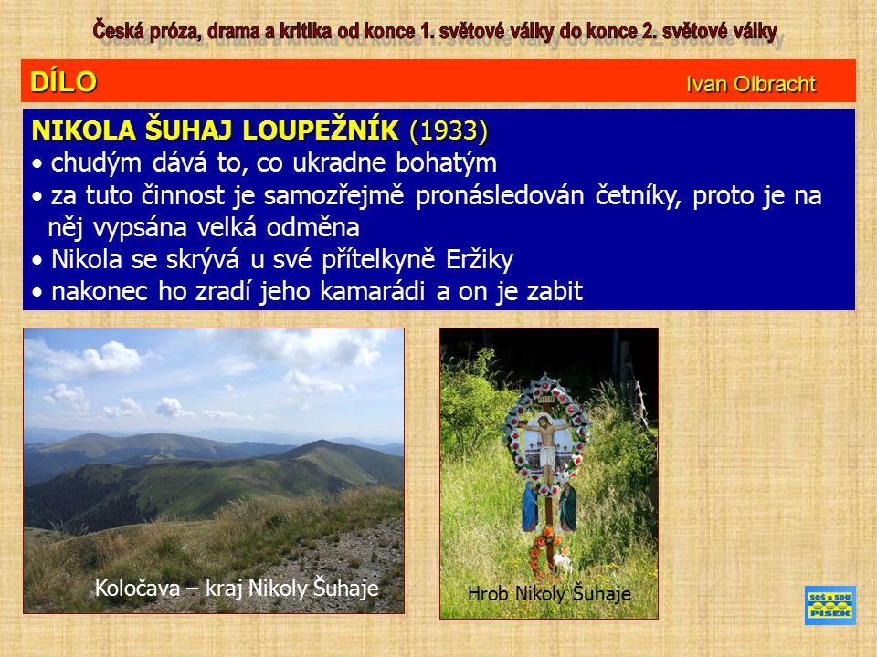 DÍLO Ivan Olbracht NIKOLA ŠUHAJ LOUPEŽNÍK (1933) chudým dává to, co ukradne bohatým za tuto činnost je samozřejmě pronásledován četníky, proto je na něj vypsána velká odměna Nikola se skrývá u své přítelkyně Eržiky nakonec ho zradí jeho kamarádi a on je zabit Koločava – kraj Nikoly Šuhaje Hrob Nikoly Šuhaje