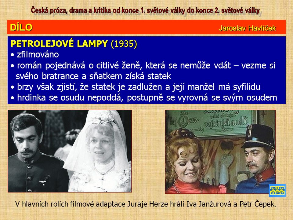 DÍLO Jaroslav Havlíček PETROLEJOVÉ LAMPY (1935) zfilmováno román pojednává o citlivé ženě, která se nemůže vdát – vezme si svého bratrance a sňatkem z