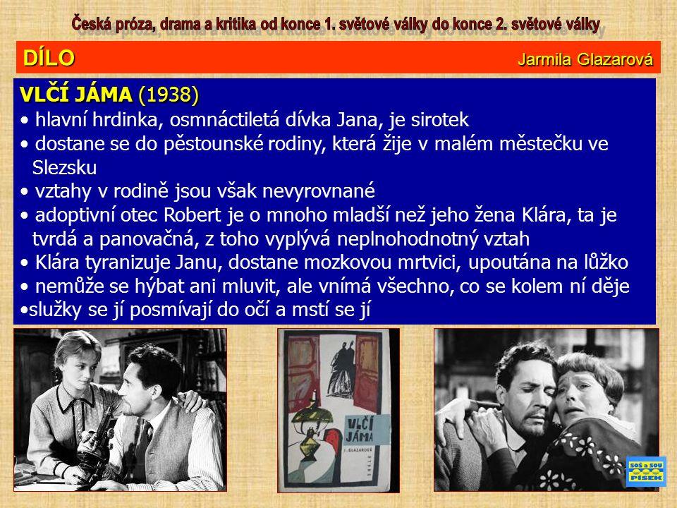 DÍLO Jarmila Glazarová VLČÍ JÁMA (1938) hlavní hrdinka, osmnáctiletá dívka Jana, je sirotek dostane se do pěstounské rodiny, která žije v malém městečku ve Slezsku vztahy v rodině jsou však nevyrovnané adoptivní otec Robert je o mnoho mladší než jeho žena Klára, ta je tvrdá a panovačná, z toho vyplývá neplnohodnotný vztah Klára tyranizuje Janu, dostane mozkovou mrtvici, upoutána na lůžko nemůže se hýbat ani mluvit, ale vnímá všechno, co se kolem ní děje služky se jí posmívají do očí a mstí se jí
