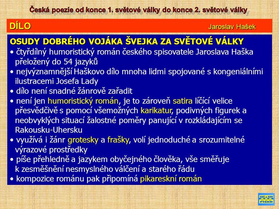 DÍLO Jaroslav Hašek OSUDY DOBRÉHO VOJÁKA ŠVEJKA ZA SVĚTOVÉ VÁLKY čtyřdílný humoristický román českého spisovatele Jaroslava Haška přeložený do 54 jazy