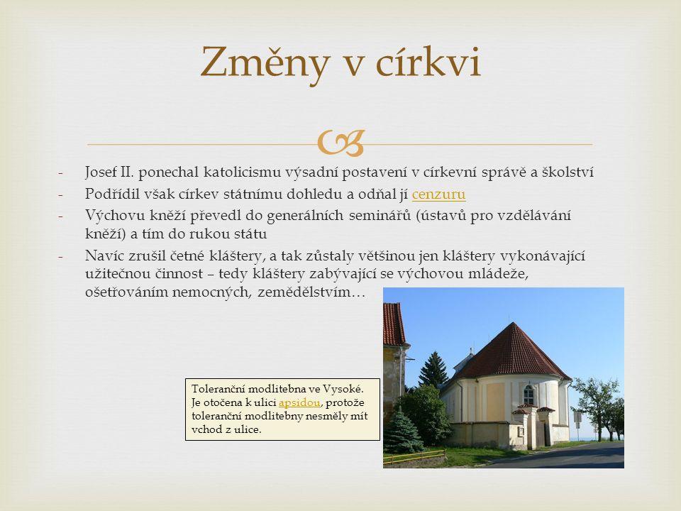  Změny v církvi -Josef II.