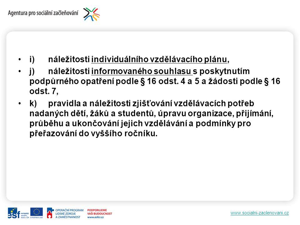 www.socialni-zaclenovani.cz i)náležitosti individuálního vzdělávacího plánu, j)náležitosti informovaného souhlasu s poskytnutím podpůrného opatření podle § 16 odst.