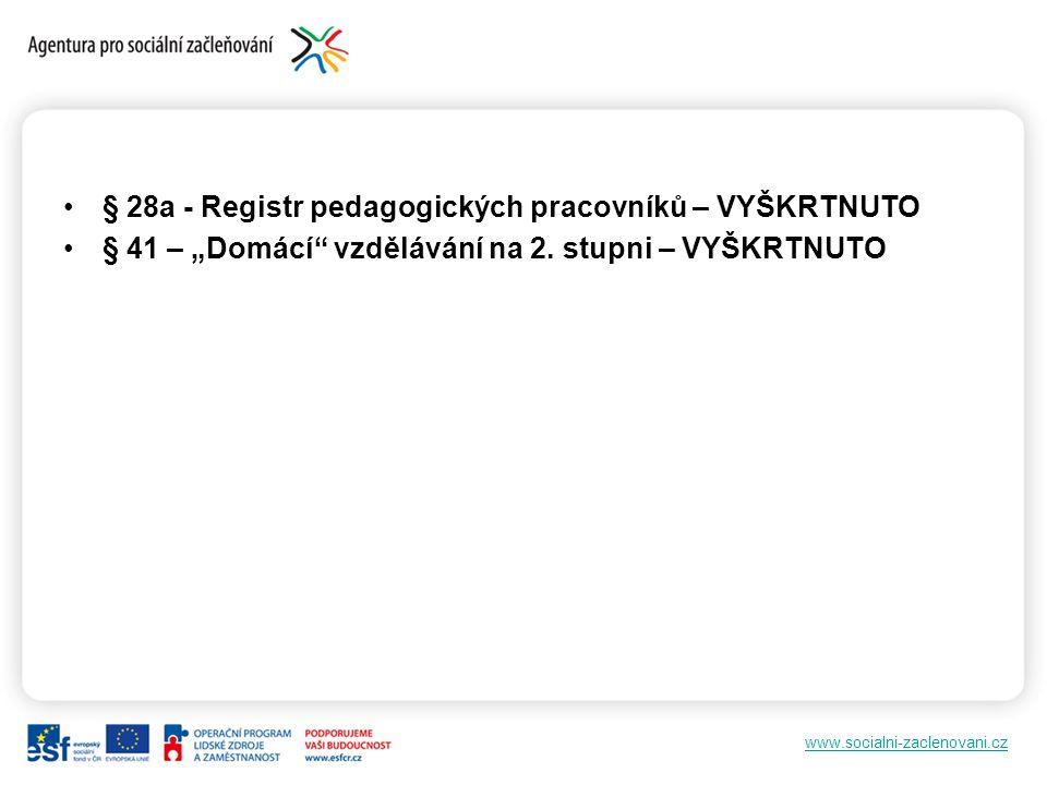 """www.socialni-zaclenovani.cz § 28a - Registr pedagogických pracovníků – VYŠKRTNUTO § 41 – """"Domácí vzdělávání na 2."""