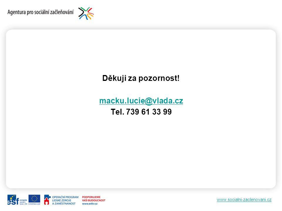 www.socialni-zaclenovani.cz Děkuji za pozornost! macku.lucie@vlada.cz Tel. 739 61 33 99