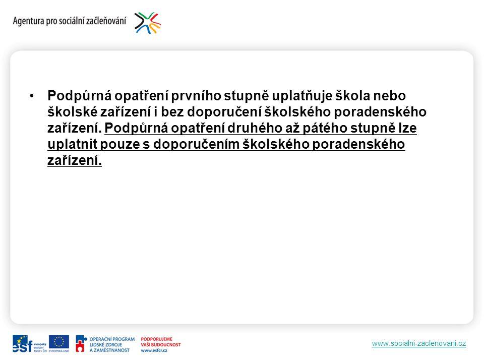 www.socialni-zaclenovani.cz Podpůrná opatření prvního stupně uplatňuje škola nebo školské zařízení i bez doporučení školského poradenského zařízení.