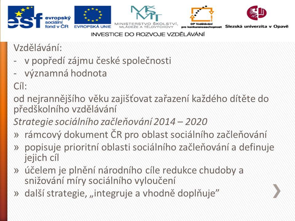 """Vzdělávání: -v popředí zájmu české společnosti -významná hodnota Cíl: od nejrannějšího věku zajišťovat zařazení každého dítěte do předškolního vzdělávání Strategie sociálního začleňování 2014 – 2020 » rámcový dokument ČR pro oblast sociálního začleňování » popisuje prioritní oblasti sociálního začleňování a definuje jejich cíl » účelem je plnění národního cíle redukce chudoby a snižování míry sociálního vyloučení » další strategie, """"integruje a vhodně doplňuje"""