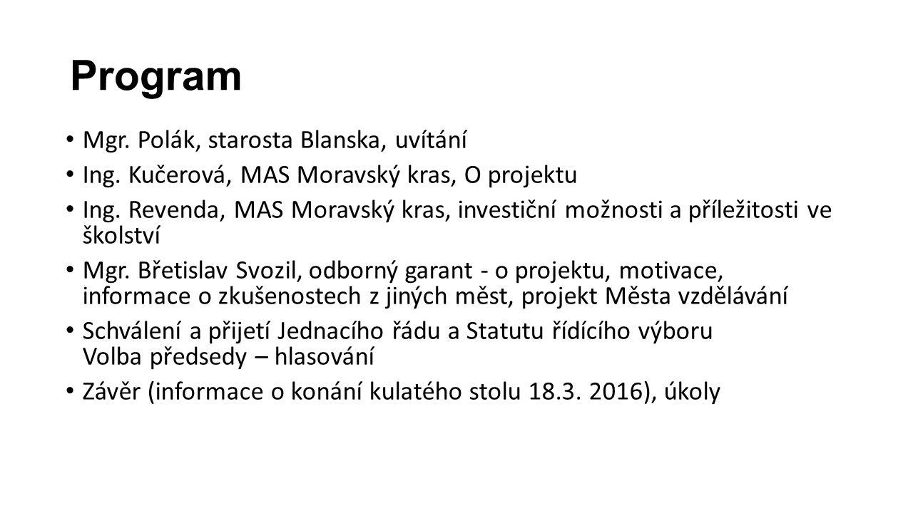 Program Mgr. Polák, starosta Blanska, uvítání Ing.