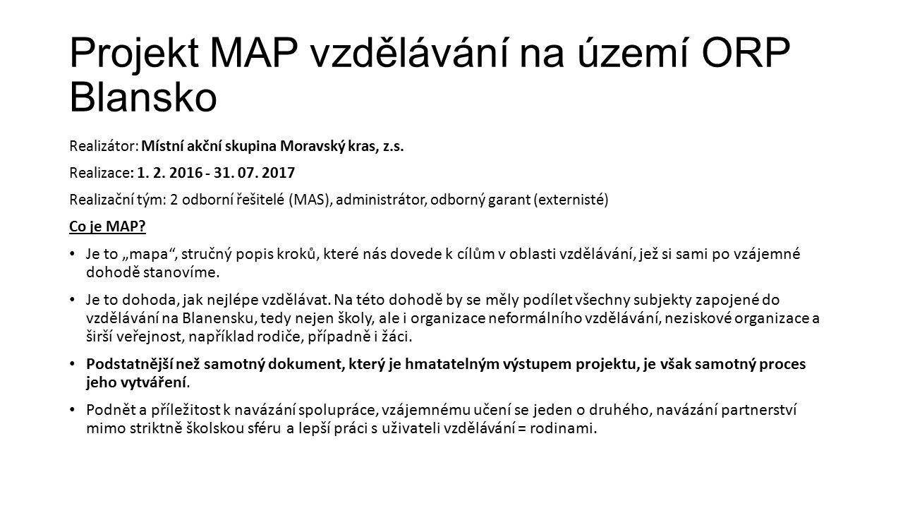 Projekt MAP vzdělávání na území ORP Blansko Realizátor: Místní akční skupina Moravský kras, z.s.