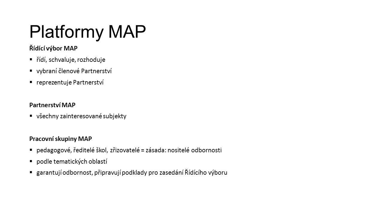 Platformy MAP Řídící výbor MAP  řídí, schvaluje, rozhoduje  vybraní členové Partnerství  reprezentuje Partnerství Partnerství MAP  všechny zainteresované subjekty Pracovní skupiny MAP  pedagogové, ředitelé škol, zřizovatelé = zásada: nositelé odbornosti  podle tematických oblastí  garantují odbornost, připravují podklady pro zasedání Řídícího výboru