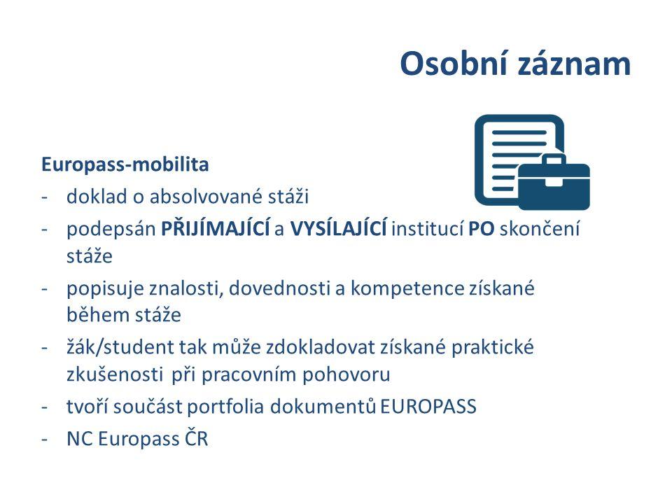 Osobní záznam Europass-mobilita -doklad o absolvované stáži -podepsán PŘIJÍMAJÍCÍ a VYSÍLAJÍCÍ institucí PO skončení stáže -popisuje znalosti, dovednosti a kompetence získané během stáže -žák/student tak může zdokladovat získané praktické zkušenosti při pracovním pohovoru -tvoří součást portfolia dokumentů EUROPASS -NC Europass ČR