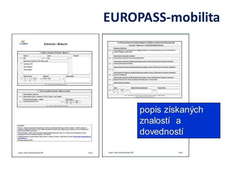 EUROPASS-mobilita popis získaných znalostí a dovedností