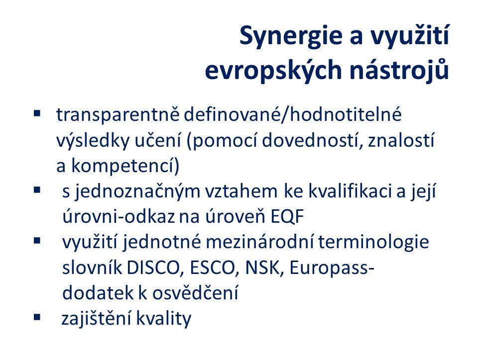 Synergie a využití evropských nástrojů  transparentně definované/hodnotitelné výsledky učení (pomocí dovedností, znalostí a kompetencí)  s jednoznačným vztahem ke kvalifikaci a její úrovni-odkaz na úroveň EQF  využití jednotné mezinárodní terminologie slovník DISCO, ESCO, NSK, Europass- dodatek k osvědčení  zajištění kvality