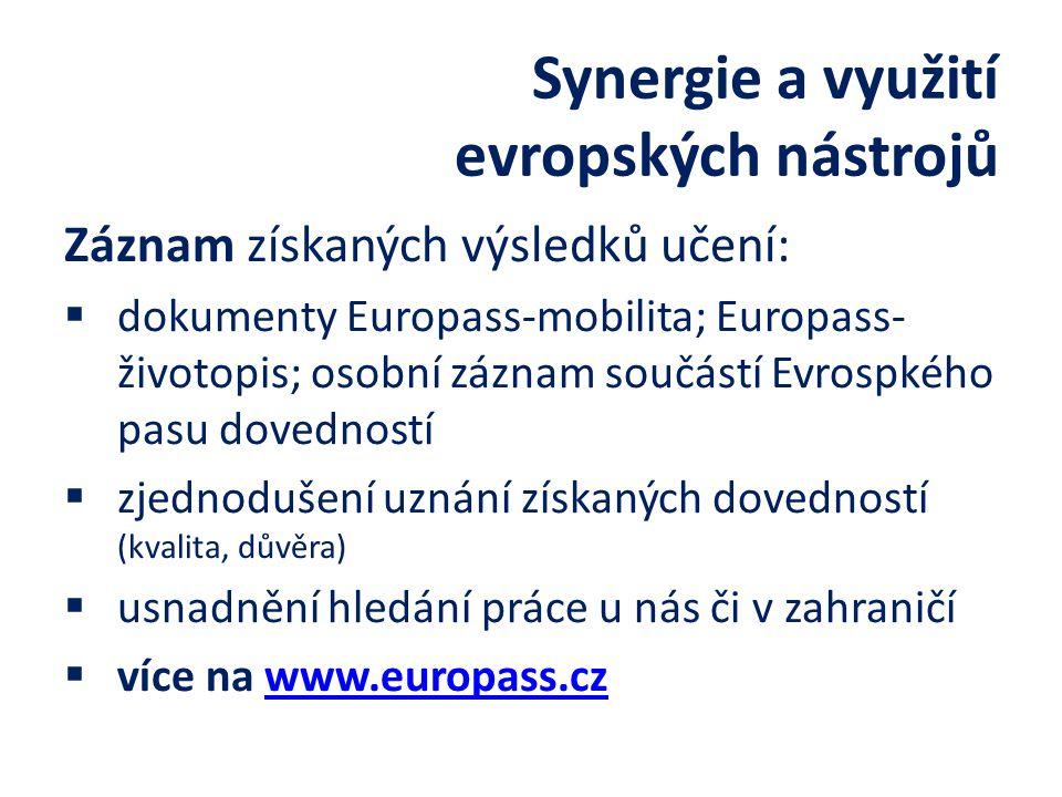 Záznam získaných výsledků učení:  dokumenty Europass-mobilita; Europass- životopis; osobní záznam součástí Evrospkého pasu dovedností  zjednodušení uznání získaných dovedností (kvalita, důvěra)  usnadnění hledání práce u nás či v zahraničí  více na www.europass.czwww.europass.cz Synergie a využití evropských nástrojů