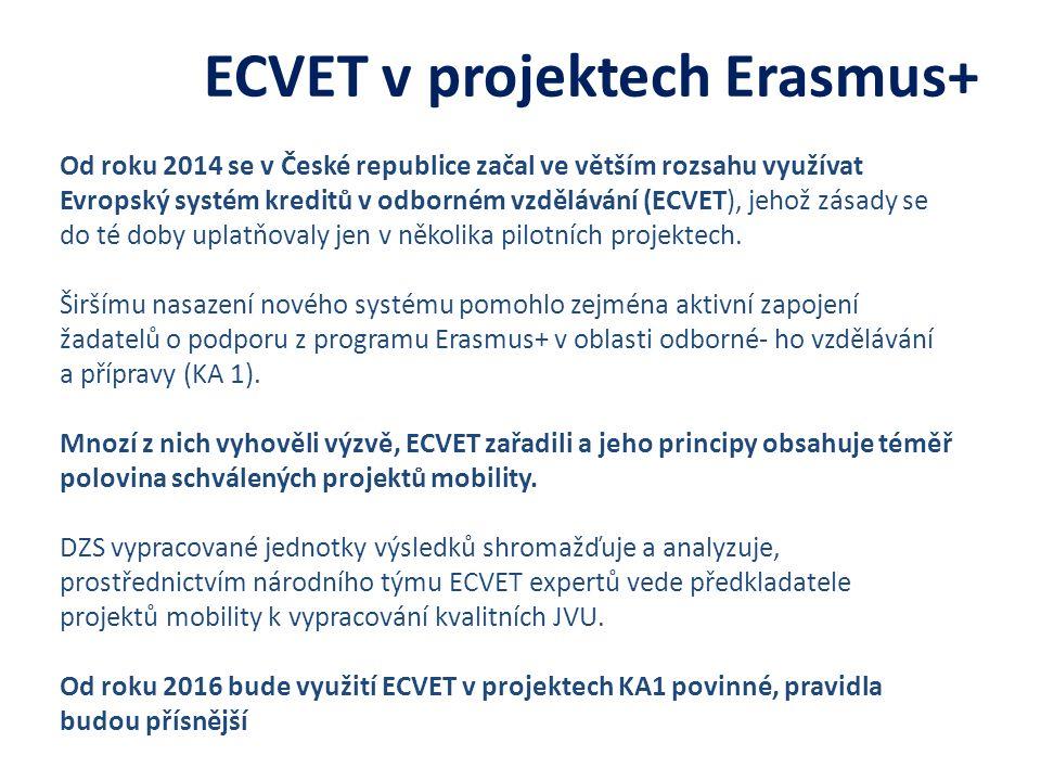ECVET v projektech Erasmus+ Od roku 2014 se v České republice začal ve větším rozsahu využívat Evropský systém kreditů v odborném vzdělávání (ECVET), jehož zásady se do té doby uplatňovaly jen v několika pilotních projektech.