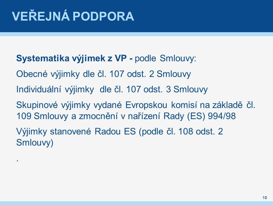 Systematika výjimek z VP - podle Smlouvy: Obecné výjimky dle čl.