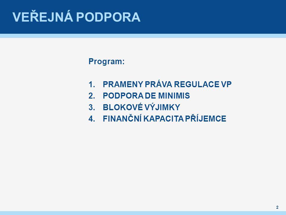 VEŘEJNÁ PODPORA Program: 1.PRAMENY PRÁVA REGULACE VP 2.PODPORA DE MINIMIS 3.BLOKOVÉ VÝJIMKY 4.FINANČNÍ KAPACITA PŘÍJEMCE 2