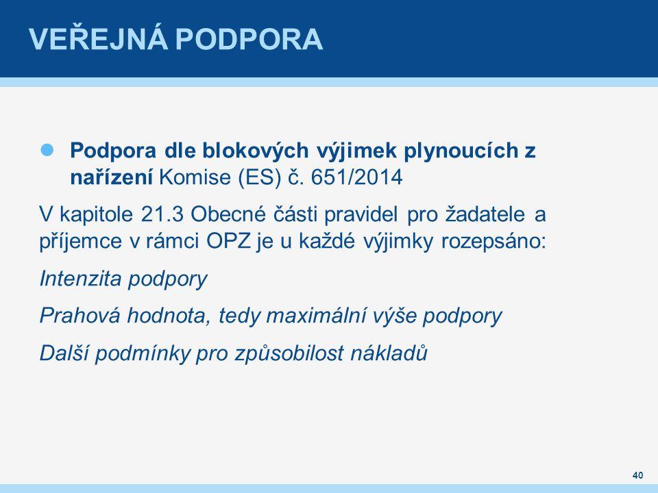 VEŘEJNÁ PODPORA Podpora dle blokových výjimek plynoucích z nařízení Komise (ES) č.