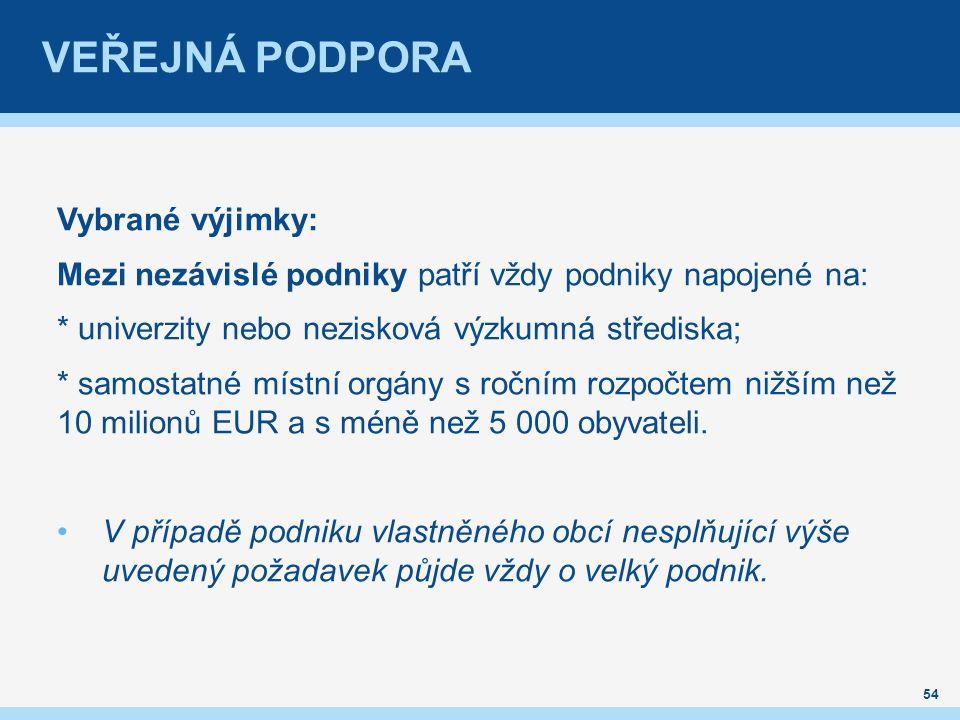 VEŘEJNÁ PODPORA Vybrané výjimky: Mezi nezávislé podniky patří vždy podniky napojené na: * univerzity nebo nezisková výzkumná střediska; * samostatné místní orgány s ročním rozpočtem nižším než 10 milionů EUR a s méně než 5 000 obyvateli.