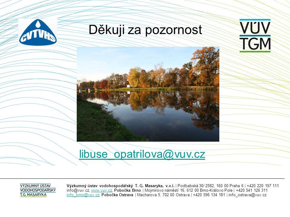 Výzkumný ústav vodohospodářský T. G. Masaryka, v.v.i. | Podbabská 30/ 2582, 160 00 Praha 6 | +420 220 197 111 info@vuv.cz, www.vuv.cz, Pobočka Brno |