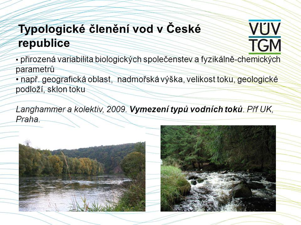 ekologický stav - biologické složky ekologického stavu - makrozoobentos - fytobentos - fytoplankton - makrofyta - ryby - podpůrné fyzikálně-chemické a chemické parametry - podpůrné hydromorfologické parametry chemický stav - chemické parametry (prioritní látky, další nebezpečné látky) Stav vodního útvaru tekoucích vod dle Rámcové směrnice o vodách 2000/60/ES velmi dobrý dobrý střední poškozený zničený dobrý nedosažení dobrého stavu