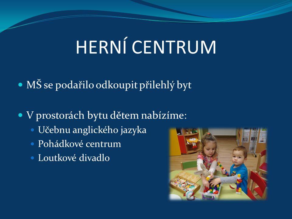 HERNÍ CENTRUM MŠ se podařilo odkoupit přilehlý byt V prostorách bytu dětem nabízíme: Učebnu anglického jazyka Pohádkové centrum Loutkové divadlo
