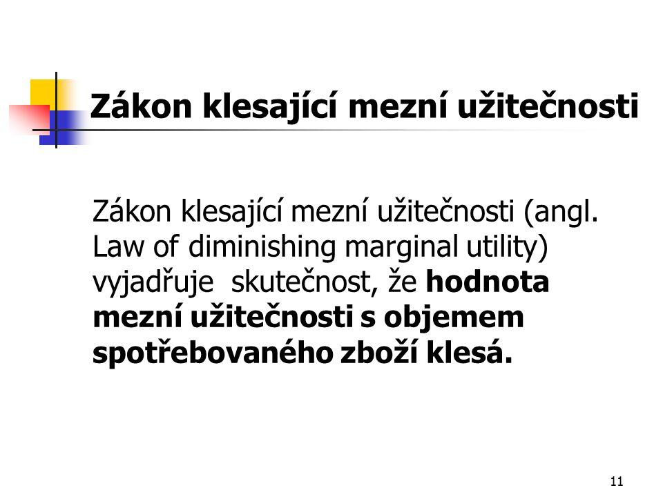 11 Zákon klesající mezní užitečnosti Zákon klesající mezní užitečnosti (angl.