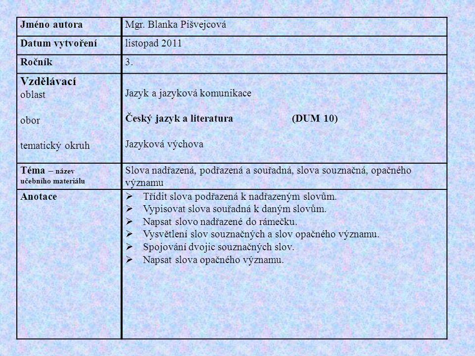 Jméno autoraMgr. Blanka Pišvejcová Datum vytvořenílistopad 2011 Ročník3.