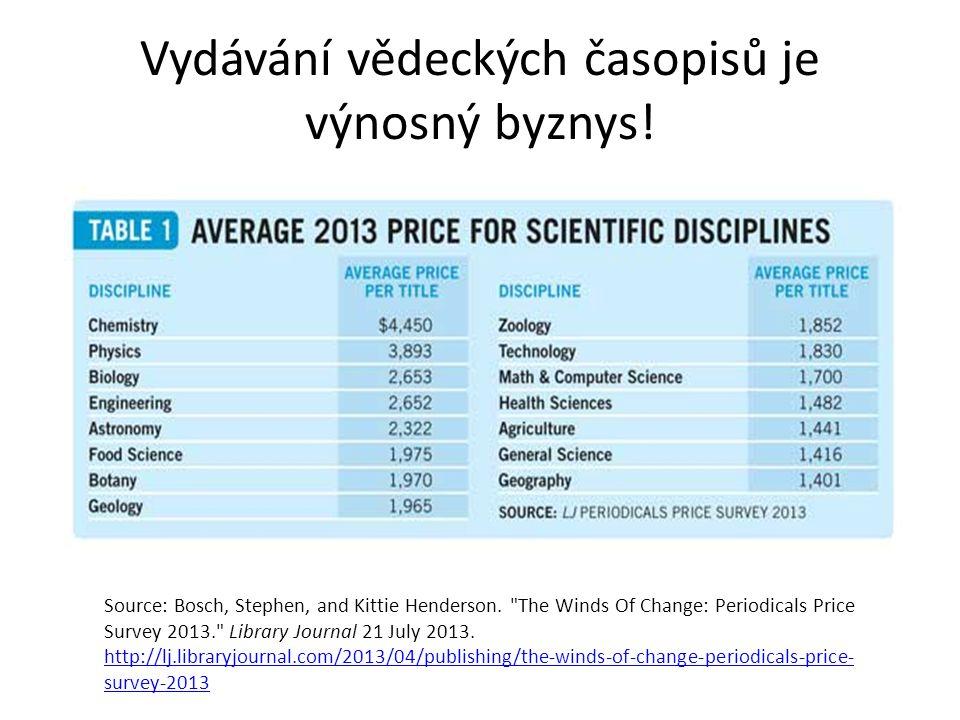 Vydávání vědeckých časopisů je výnosný byznys. Source: Bosch, Stephen, and Kittie Henderson.