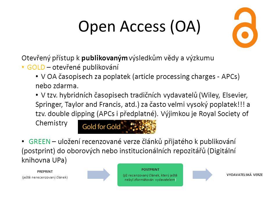 Open Access (OA) Otevřený přístup k publikovaným výsledkům vědy a výzkumu GOLD – otevřené publikování V OA časopisech za poplatek (article processing charges - APCs) nebo zdarma.