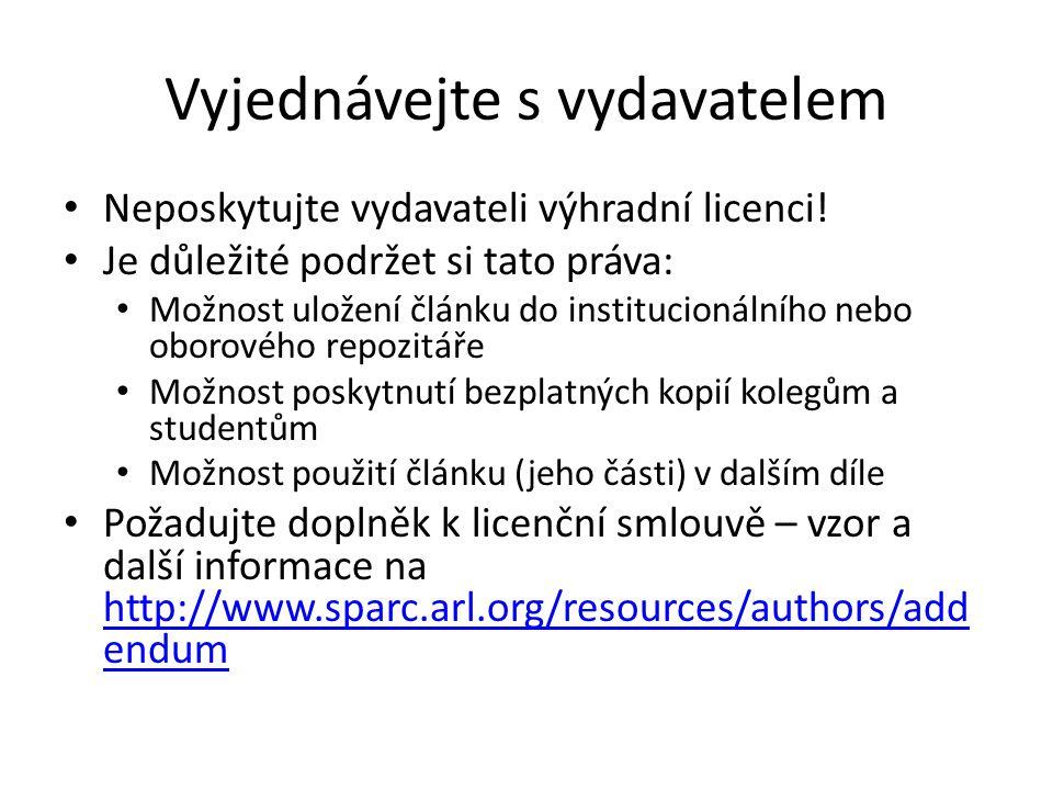 Vyjednávejte s vydavatelem Neposkytujte vydavateli výhradní licenci.