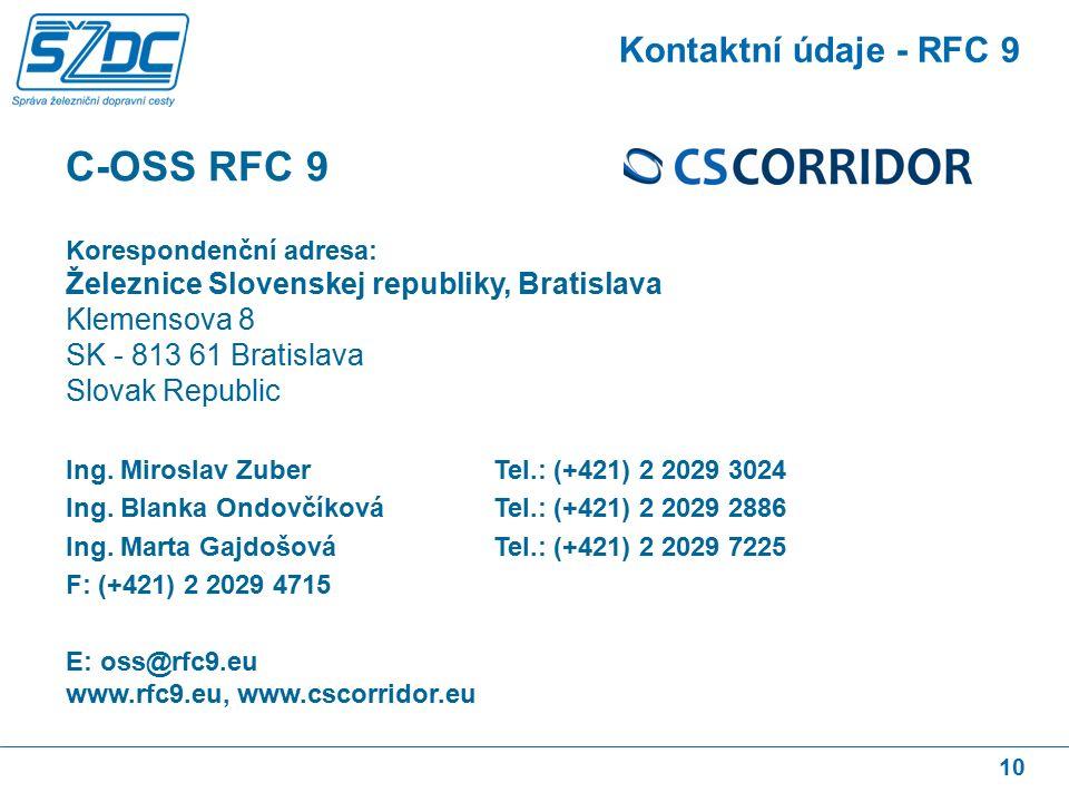 10 Kontaktní údaje - RFC 9 C-OSS RFC 9 Korespondenční adresa: Železnice Slovenskej republiky, Bratislava Klemensova 8 SK - 813 61 Bratislava Slovak Republic Ing.