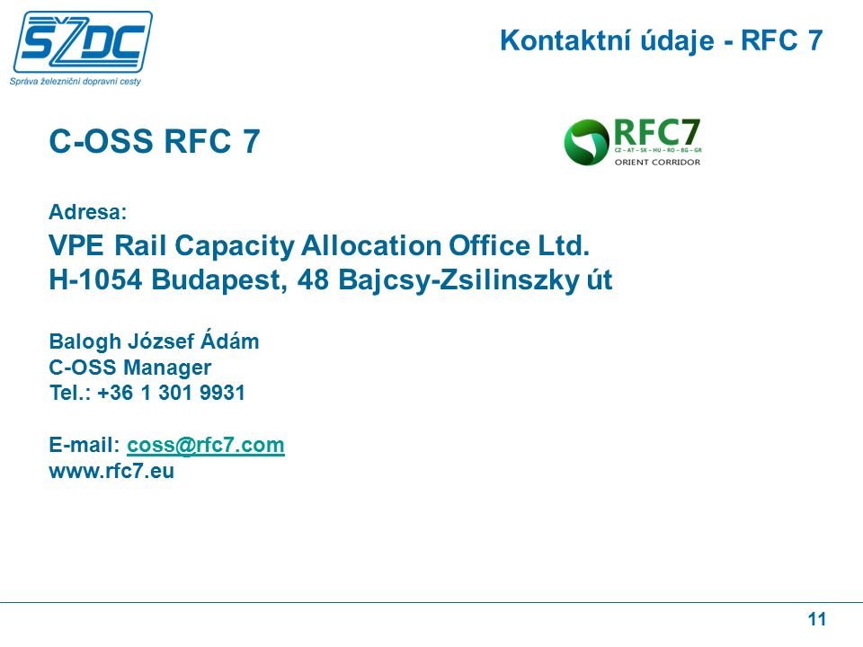 11 Kontaktní údaje - RFC 7 C-OSS RFC 7 Adresa: VPE Rail Capacity Allocation Office Ltd.