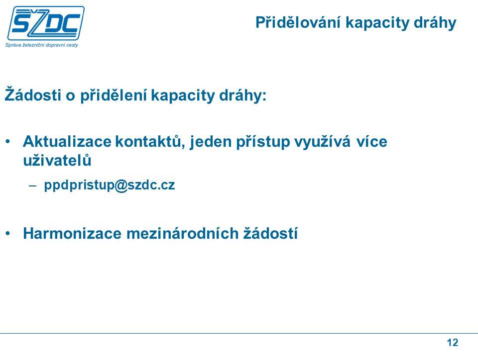 12 Přidělování kapacity dráhy Žádosti o přidělení kapacity dráhy: Aktualizace kontaktů, jeden přístup využívá více uživatelů –ppdpristup@szdc.cz Harmonizace mezinárodních žádostí