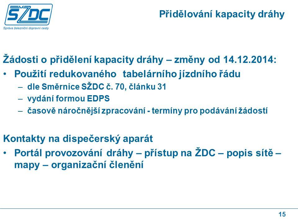 15 Přidělování kapacity dráhy Žádosti o přidělení kapacity dráhy – změny od 14.12.2014: Použití redukovaného tabelárního jízdního řádu –dle Směrnice SŽDC č.