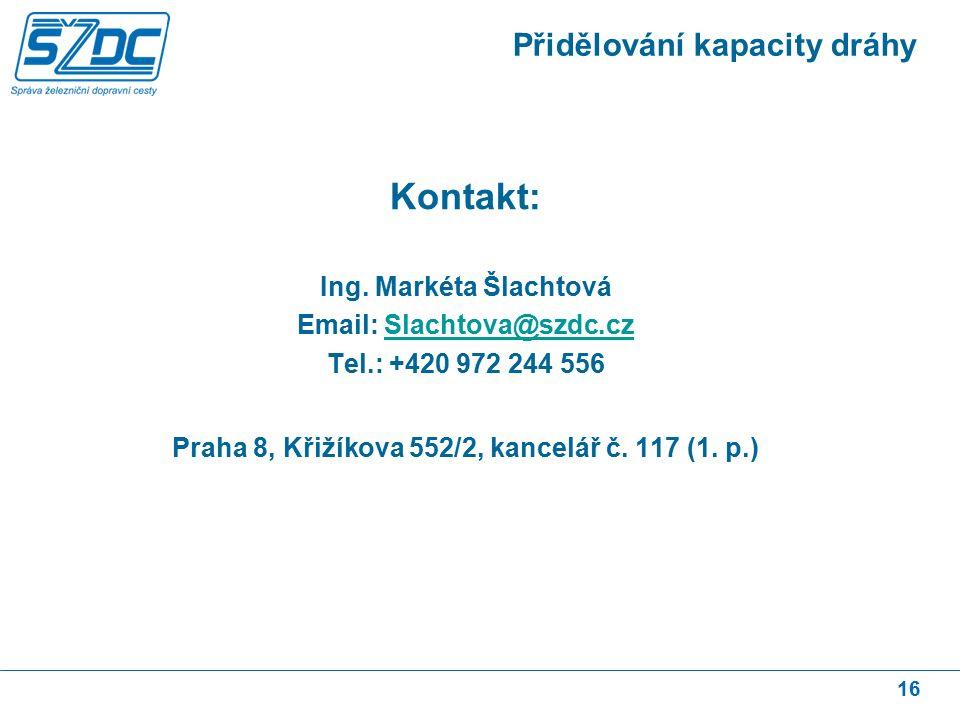 16 Přidělování kapacity dráhy Kontakt: Ing.
