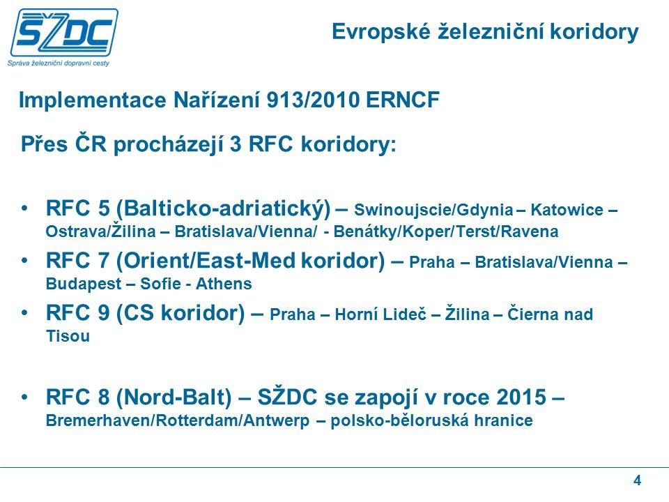 Implementace Nařízení 913/2010 ERNCF 4 Evropské železniční koridory Přes ČR procházejí 3 RFC koridory: RFC 5 (Balticko-adriatický) – Swinoujscie/Gdyni